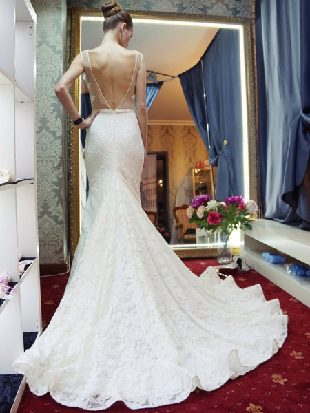 Long Wedding Dress, Lace Wedding Dress, Mermaid Bridal Dress, Sleeveless Wedding Dress, V-Back Wedding Dress, Tulle Wedding Dress, Sexy Wedding Dress, LB0482
