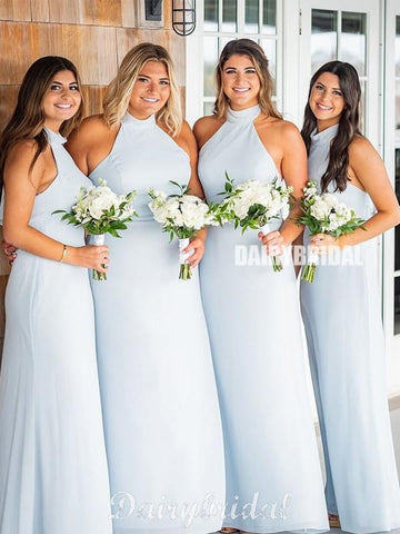 Halter Chiffon A-line Backless Inexpensive Bridesmaid Dress, FC4842