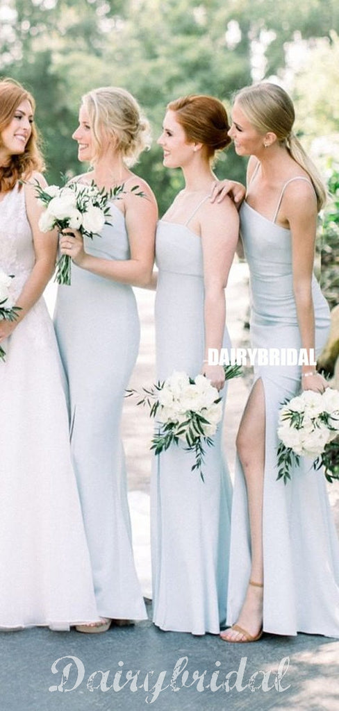 Light Blue Straight Neckline Mermaid Backless Bridesmaid Dress, FC4843