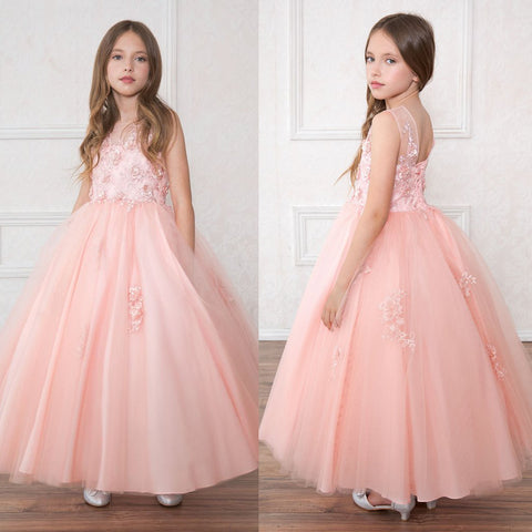 Tulle Applique Flower Girl Dresses, Round Neckline Flower Lovely Little Girl Dresses, D489
