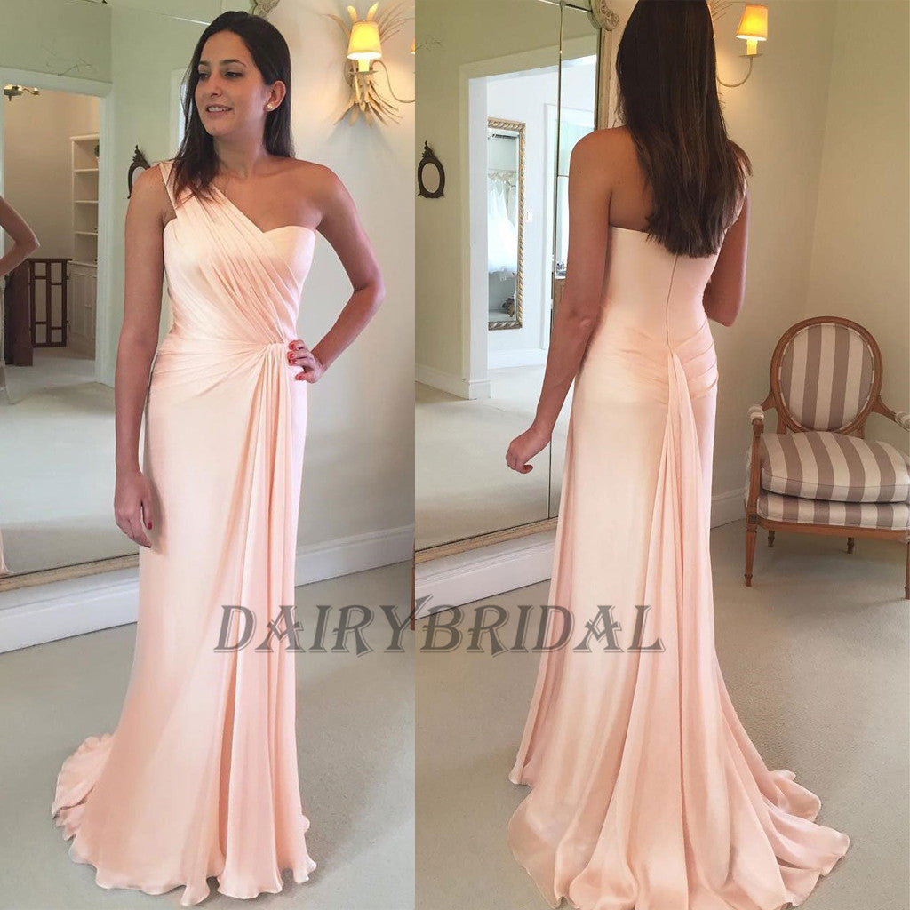 One-Shoulder Bridesmaid Dress, Chiffon Bridesmaid Dress, Pleated Bridesmaid Dress, Stunning Bridesmaid Dress, Cheap Bridesmaid Dress, D48