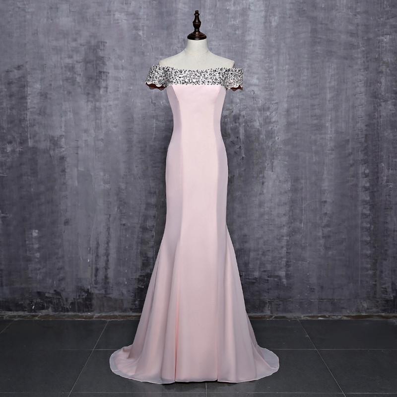 Hot Sale Off Shoulder Floor-Length Pink Beaded  Sequins Long Mermaid Bridesmaid Dresses Wedding Party Dresses,220049