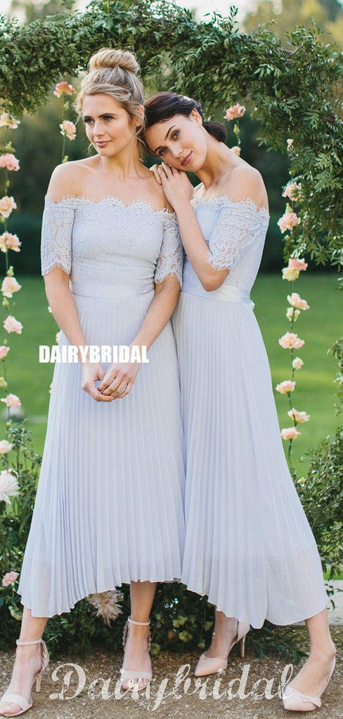 Charming Lace Top A-line Off Shoulder Half Sleeve Bridesmaid Dress, FC4904