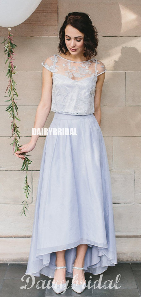 Two Pieces A-line Organza High Low Cap Sleeve Bridesmaid Dress, FC4905