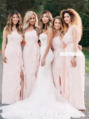 Newest A-line Pink One Shoulder Slit Long Bridesmaid Dress, FC4906