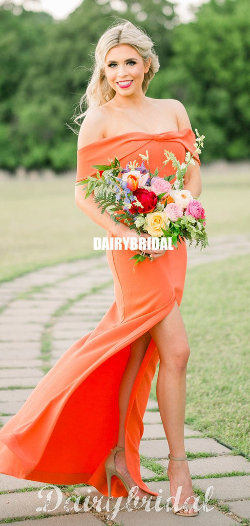 Gorgeous Off Shoulder Slit Mermaid Backless Bridesmaid Dress, FC4925