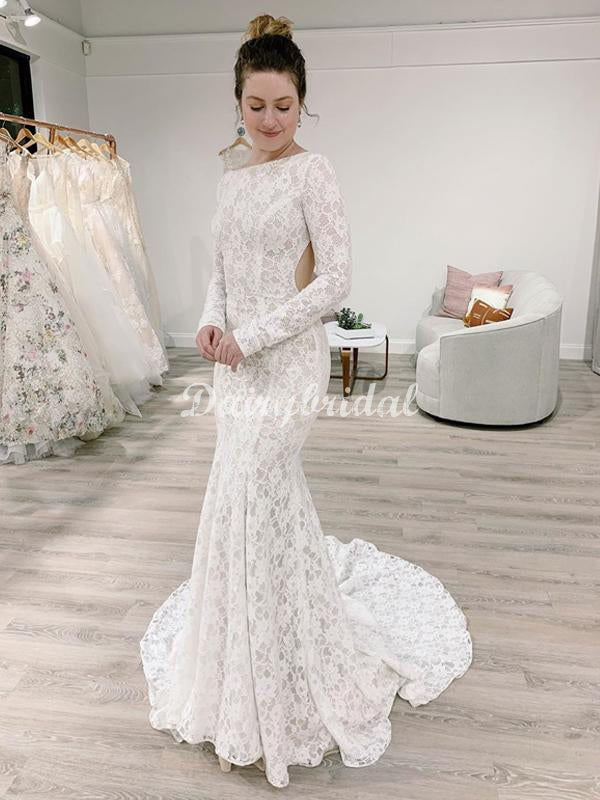 Stunning Mermaid Lace Long Sleeves Wedding Dress with a Detachable Train, FC4945
