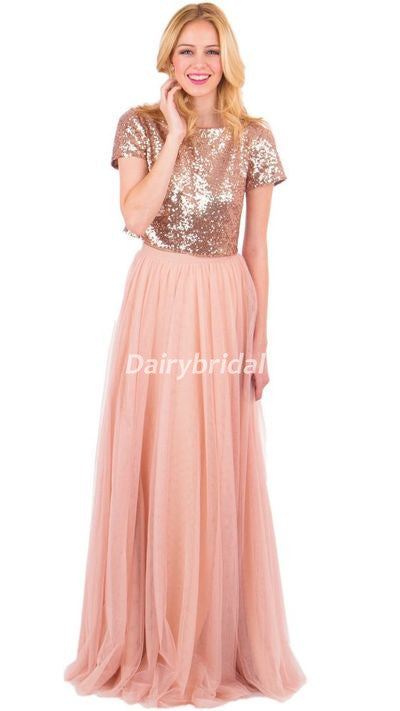Two Pieces Sequin Top Bridesmaid Dress, Tulle Floor-Length Bridesmaid Dress, D494