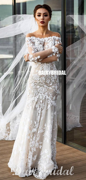 Stunning Mermaid Hoest Long Sleeves Floor-Length Lace Wedding Dress, FC4963