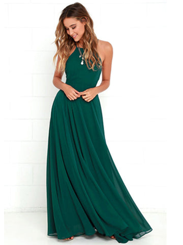Long Chiffon Sleeveless Bridesmaid Dress, Maxi Halter Cross-Back Bridesmaid Dress, LB0496