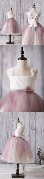 Newest Arrival Strap White Top Dusty Rose Tulle Cute Flower Girl Dresses, FG012