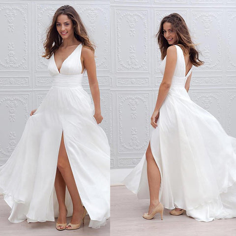 Chiffon Deep V-Neck Bridal Dress, Sleeveless Side split V-Back Beach Wedding Dress, LB0500