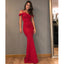 Red Mermaid Satin Prom Dress, Sexy Off Shoulder Prom Dress, D502