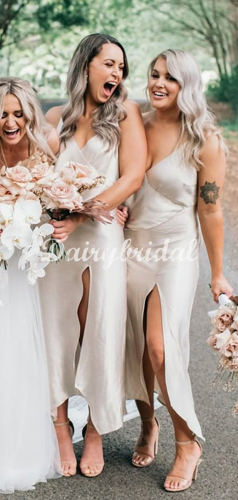 Gorgeous Spaghetti Straps Sexy Slit Deep V-Neck Bridesmaid Dress, FC5037