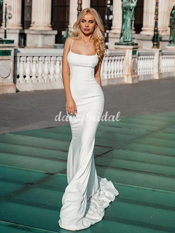 Simple Sapgehtti Straps Mermaid Sexy Backless Wedding Dress, FC5038
