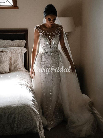 Gorgeous Lace Mermaid Cap Sleeves Backless Wedding Dress with a Detachable Train, FC5062