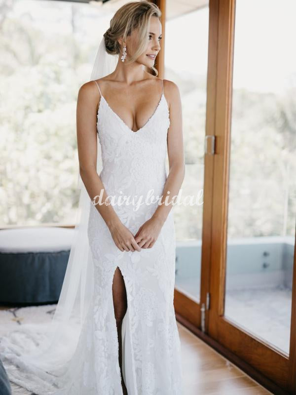 Popular Spaghetti Strpas Mermaid Lace Sexy Slit Backless Wedding Dress, FC5067