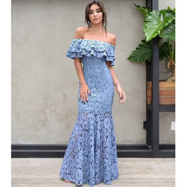 ee28085f08f0 Off Shoulder Sexy Mermaid Prom Dresses, Lace Floor-Length Prom Dresses, D506