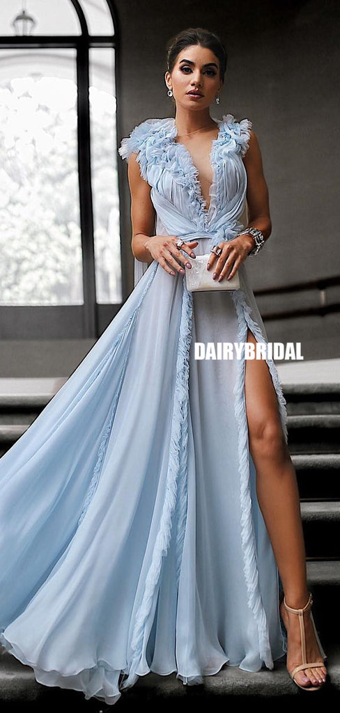 Simple Designed Chiffon A-line Sexy Slit Prom Dress, FC5028