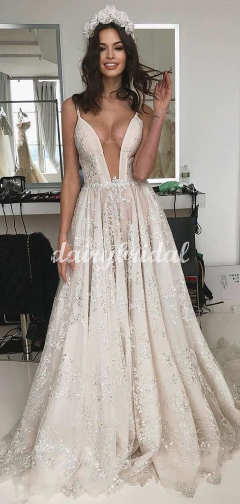 Charming A-line Lace Spaghetti Straps Tulle Wedding Dress, FC5092