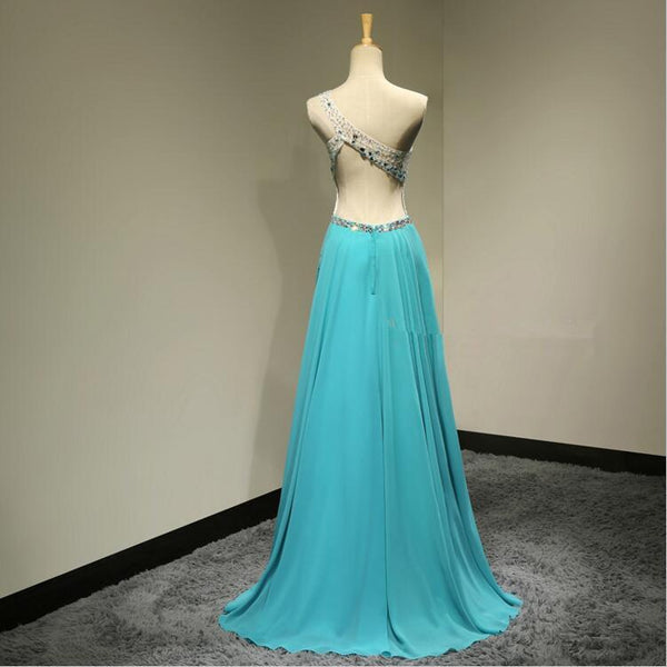 A-Line One Shoulder Backless Elegant Beading Rhinestone Chiffon Floor-Length Bridesmaid dress,220051