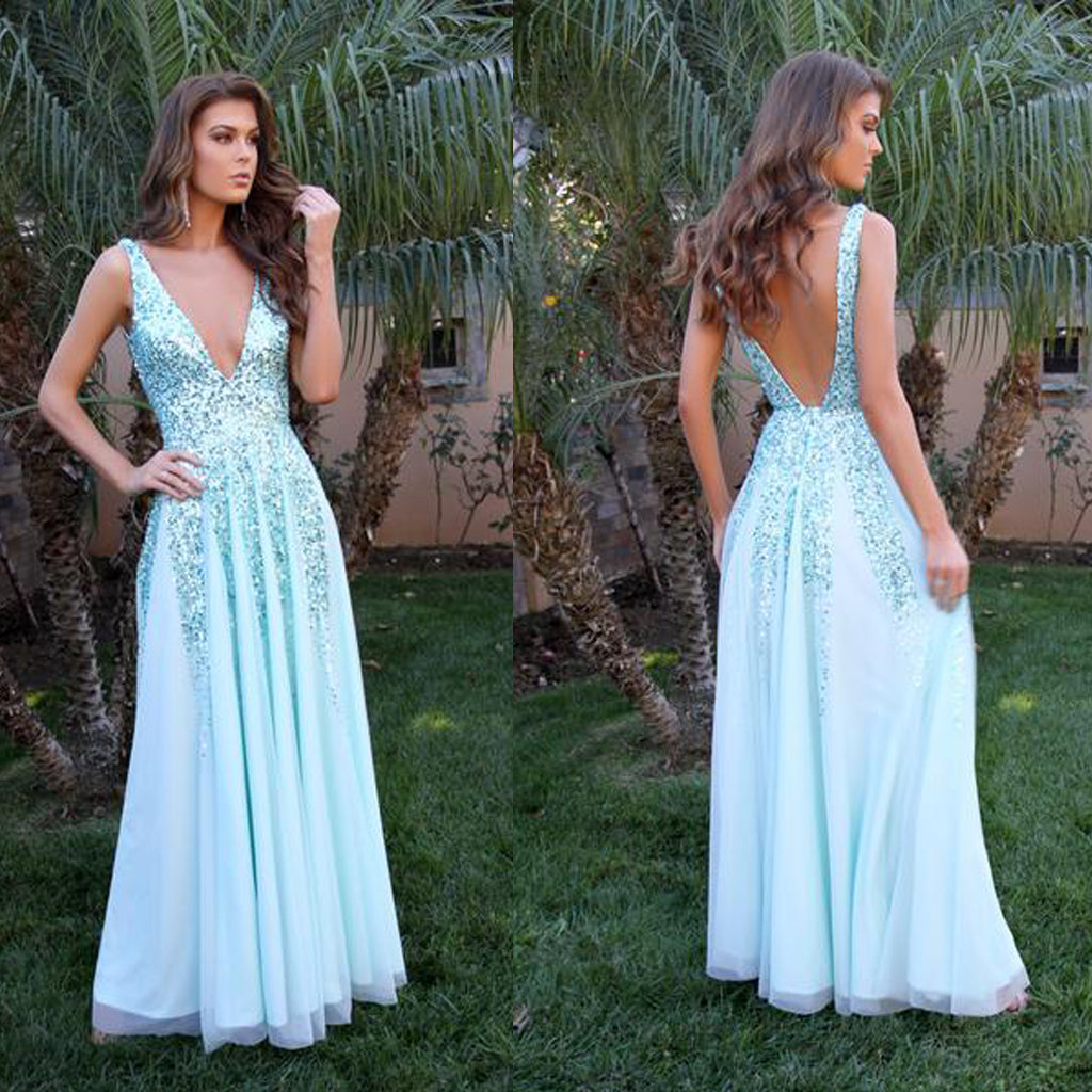 Sparkle V-Neck Prom Dress, Sequin V-Back Sexy Prom Dress, D513
