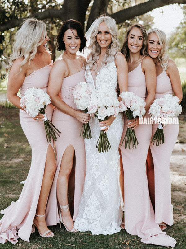 Stunning Mermaid One-Shouder Sexy Backless Slit Long Bridesmaid Dress, FC5152