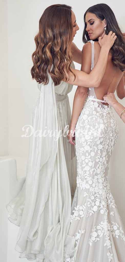 Stunning A-line One-Shoulder Organza Long Bridesmaid Dress, FC5155