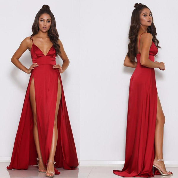 Spaghetti Starps Red Slit Prom Dress, Sexy V-Neck Backless A-Line Soft Satin Prom Dress, D516