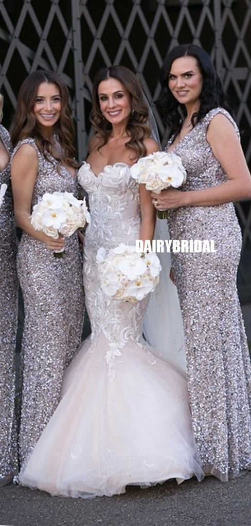 Sparkle Mermaid Sequin V-neck Sleeveless Bridesmaid Dress, FC5191