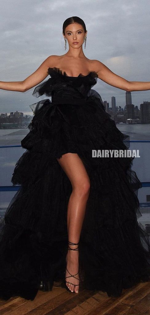 Black A-line Tulle Backless Sexy Slit Prom Dress, FC5195