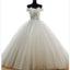 Off Shoulder Lace Sleeveless Charming Tulle Floor-Length Wedding Dresses,220052