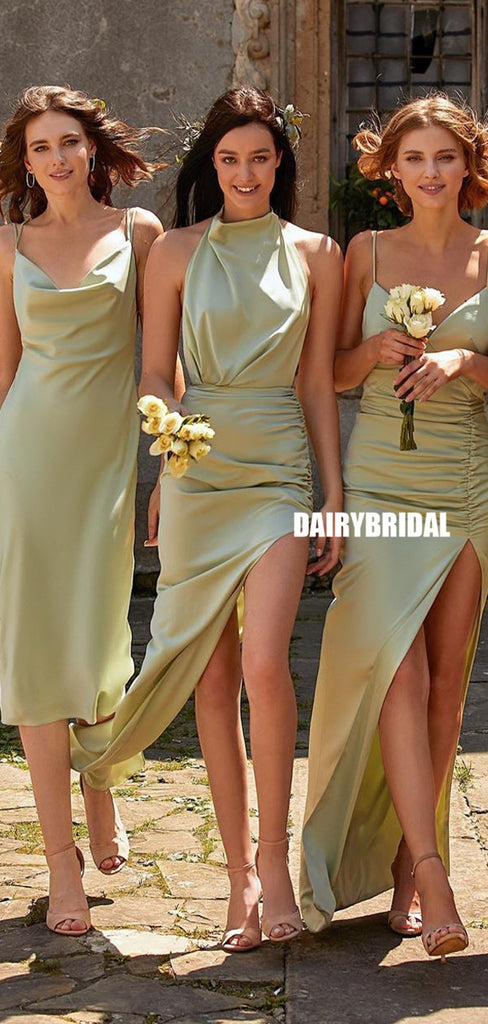 Mismatched Silk Elastic Satin Backless Charming Bridesmaid Dress, FC5208