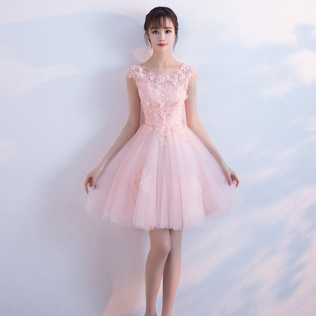 Short Homecoming Dress, Tulle Homecoming Dress, Applique Homecoming Dress, A-Line Junior School Dress, Sequin Graduation Dress, Pink Homecoming Dress, LB0522