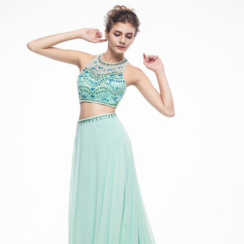 Long Prom Dresses, Chiffon Prom Dresses, A-Line Party Dresses, Two ...
