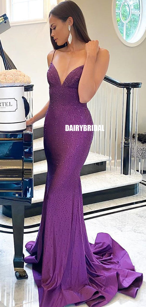 Spaghetti Straps Mermaid Sexy Backless Beaded Prom Dress, FC5288