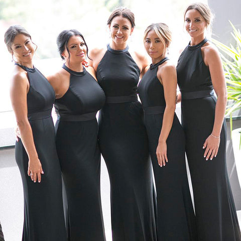 Black Chiffon Satin Bridesmaid Dress, Mermaid Backless Bridesmaid Dress, D529