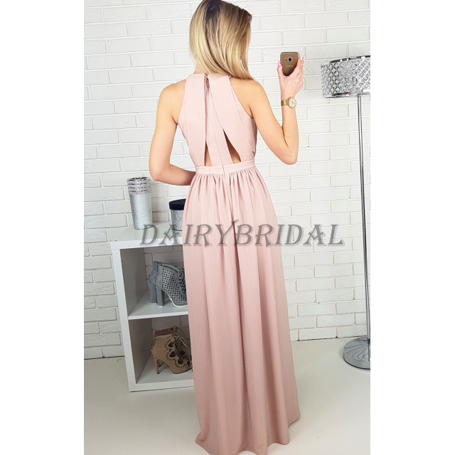 Pleated Prom Dress, Chiffon Prom Dress, Side Split Prom Dress, A-Line Prom Dress, Sleeveless Prom Dress, D52
