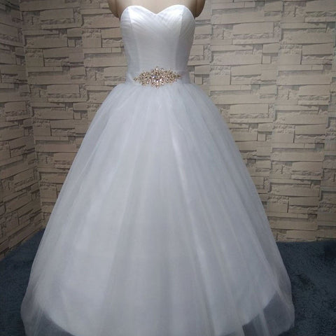 New Arrival Sweet Heart Sleeveless Elegant Tulle Floor-Length Rhinestone Wedding Dresses,220053