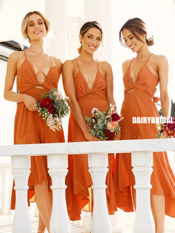 Spaghetti Straps A-line Sexy V-neck Sleeveless Bridesmaid Dress, FC5309