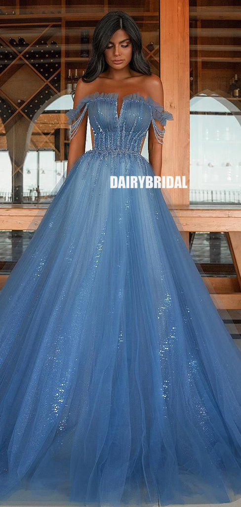 Off Shoulder A-line Tulle Long Sequin Prom Dress, FC5324