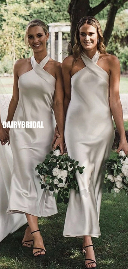 Charming Halter Mermaid Backless Ankle-Length Bridesmaid Dress, FC5330