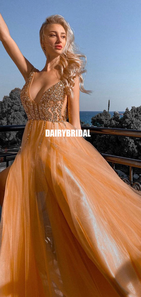 Charming A-line Tulle Sexy V-neck Beaded Prom Dress, FC5334
