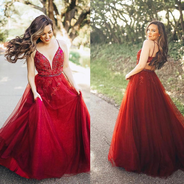 Red Deep V-Neck Lace Prom Dress, Tulle A-Line Applique Prom Dress, D533