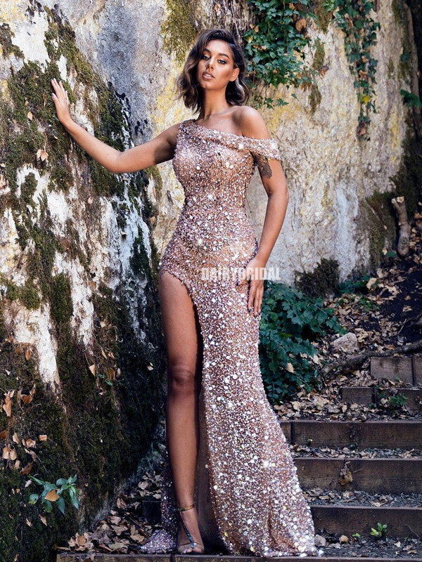 Stunning Mermaid Sequin Off Shoulder Beaded Long Prom Dress, FC5383