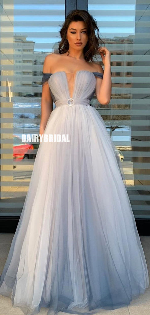 Simple Off Shoulder Tulle Floor-Length Prom Dress, FC5384
