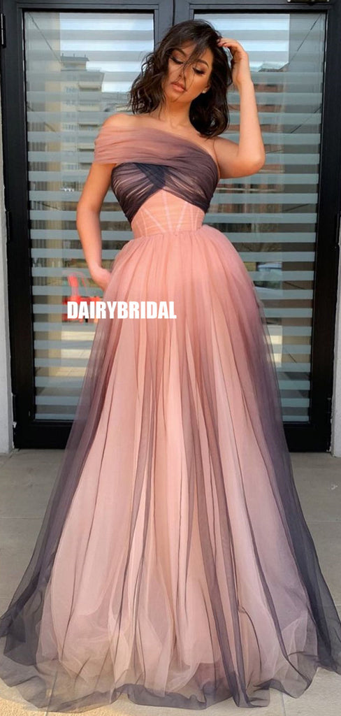 Off Shoulder Tulle A-line Simple Backless Gradient Prom Dresses, FC5387
