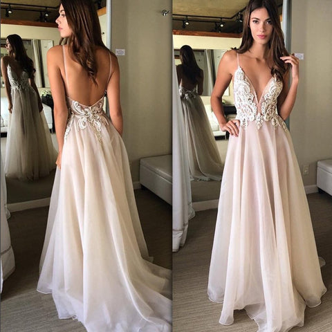 Long Prom Dresses, Tulle Prom Dresses, A-Line Party Dresses, Spaghetti Straps Evening Dresses, Applique Prom Dresses , Sexy Prom Dresses, Backless Prom Dress, LB0538