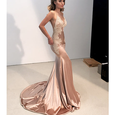 71ea15f293f Sexy Mermaid Applique V-Neck Prom Dress