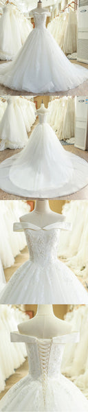 A-Line Lace Off Shoulder Backless Applique Sequin Beautiful Wedding Dresses with Chapel Train,220054